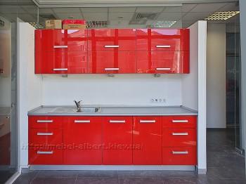 Встроенная кухня для офиса,фасад глянцевый окрашенный МДФ.