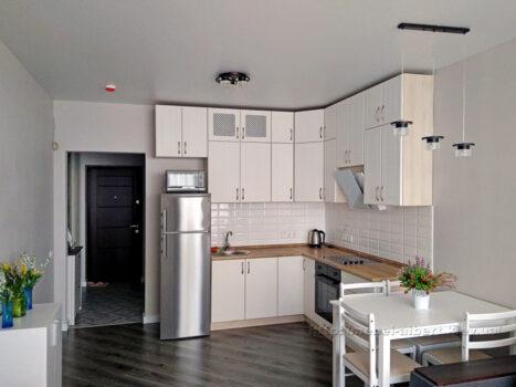 Кухня под потолок для смарт квартиры в новостройке.